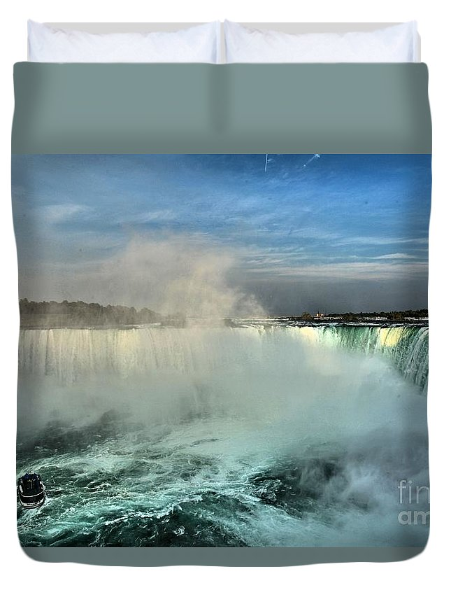 Niagara Falls State Park Duvet Cover featuring the photograph Rainbow Over The Maid by Adam Jewell