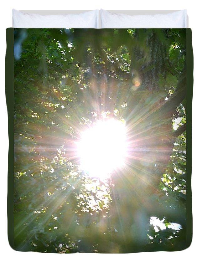Rainbow Duvet Cover featuring the photograph Rainbow Rays by Maria Urso