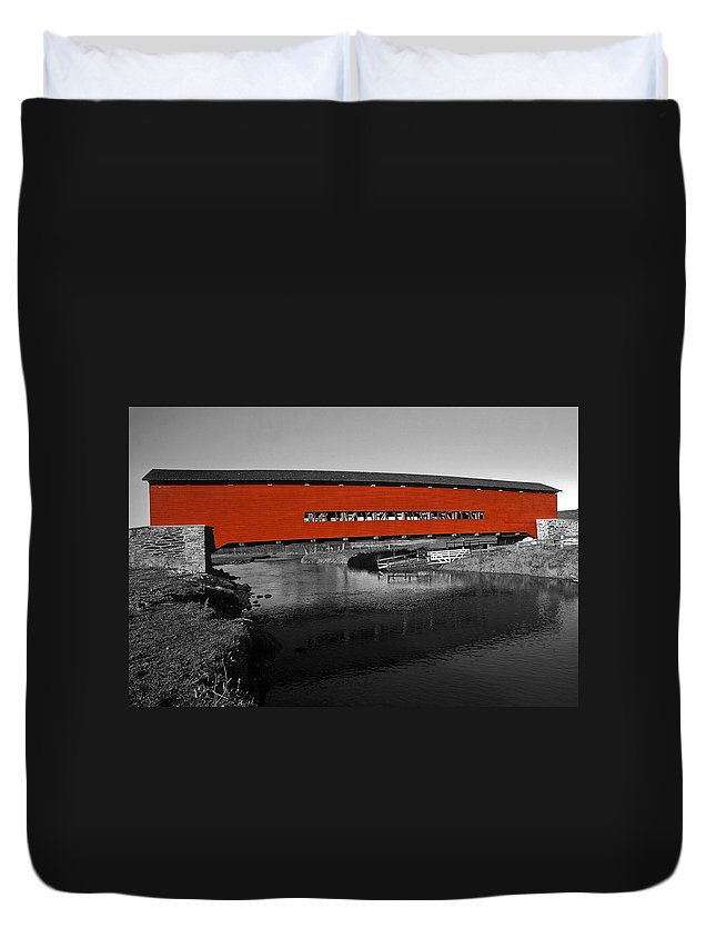 Red Covered Bridge Duvet Cover featuring the photograph Red Covered Bridge by Sally Weigand