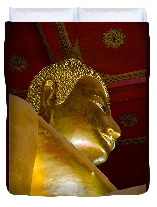 Ancient Duvet Cover featuring the photograph Red Roofed Hall With Ornaments And A Tall Golden Buddha Statue by U Schade