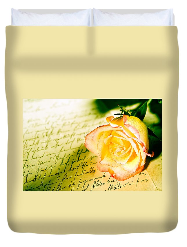 Alliance Duvet Cover featuring the photograph Red Yellow Rose Over A Hand Written Letter by U Schade