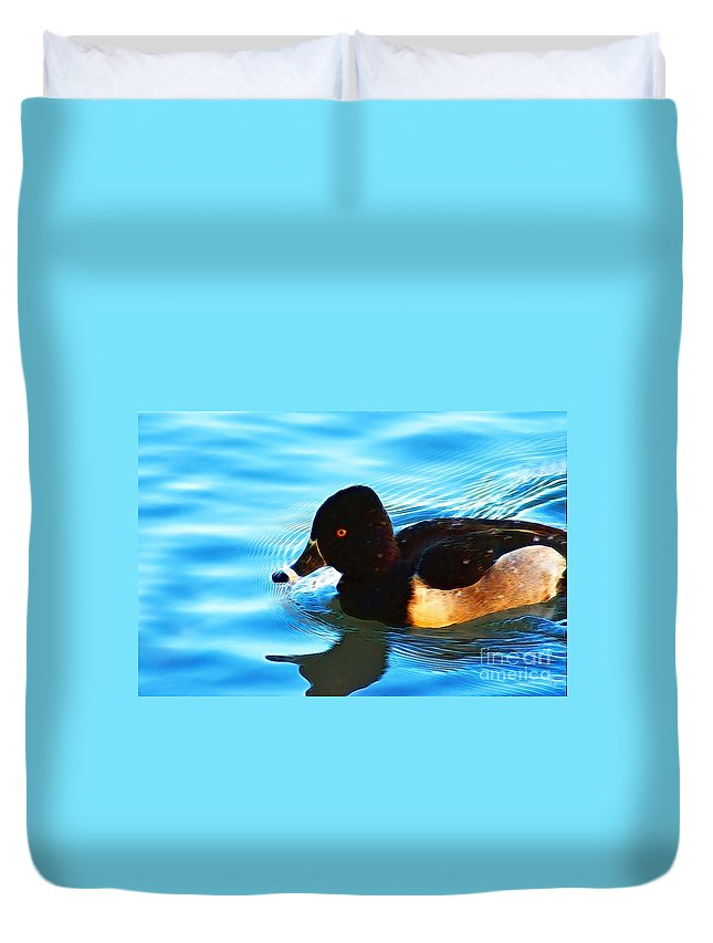Fine Art. Donna Van Vlack Duvet Cover featuring the photograph Ringbill Duck by Donna Greene