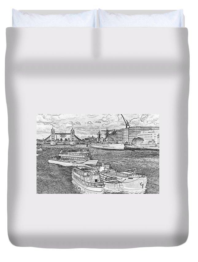 Olympics Duvet Cover featuring the digital art River Thames Art by David Pyatt