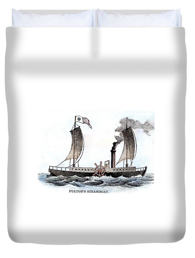 1807 Duvet Cover featuring the photograph Robert Fultons Clermont by Granger
