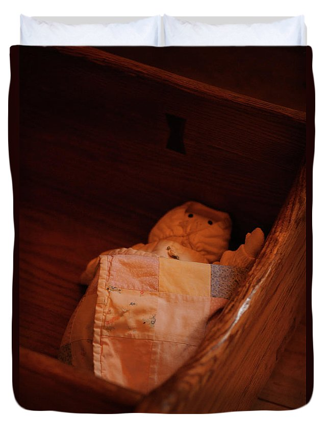 Wooden Cradle Duvet Cover featuring the photograph Rock-a-bye My Baby by Linda Shafer