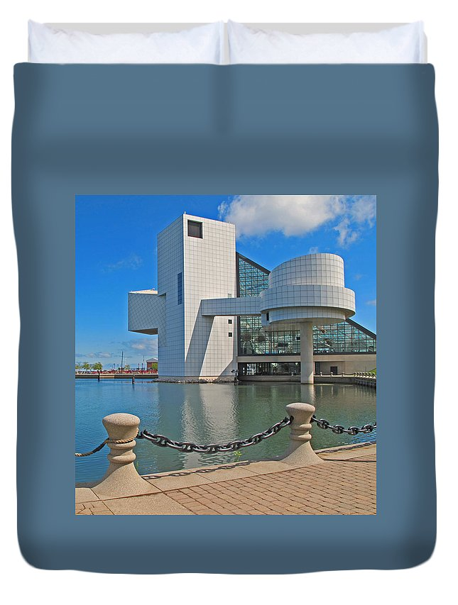 Rock And Roll Hall Of Fame Duvet Cover featuring the photograph Rock And Roll Hall Of Fame by Dave Mills