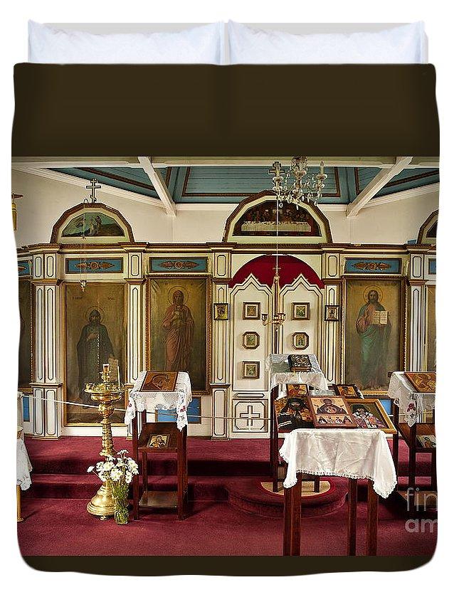 Alaska Duvet Cover featuring the photograph Russian Orthodox Church by John Greim
