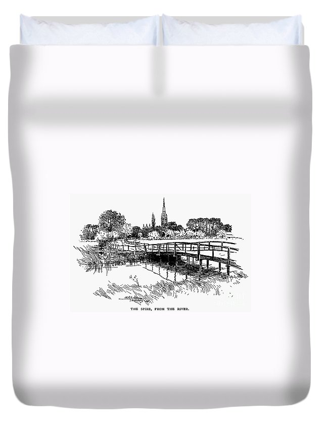 19th Century Duvet Cover featuring the photograph Salisbury Cathedral by Granger