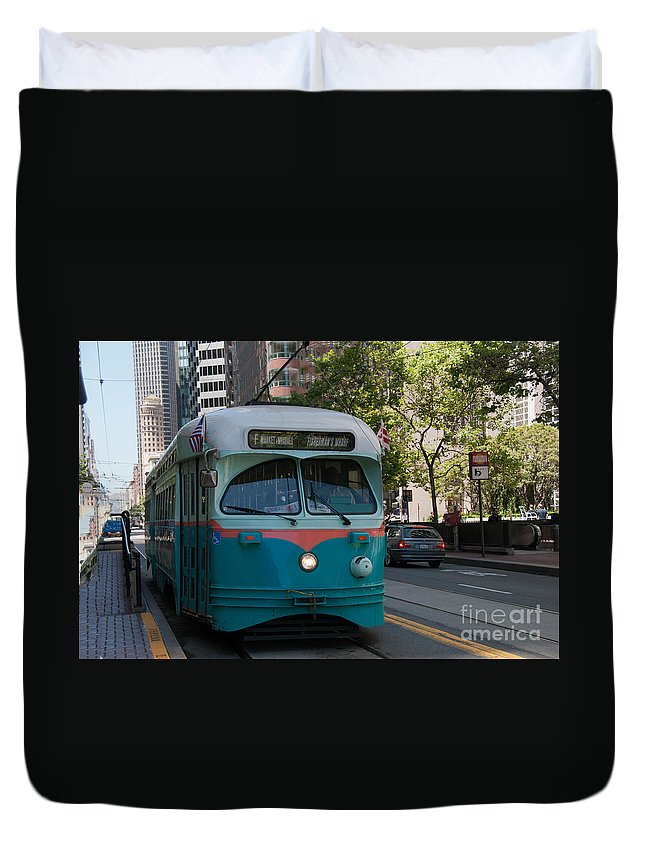 Buses Duvet Cover featuring the digital art San Francisco by Carol Ailles