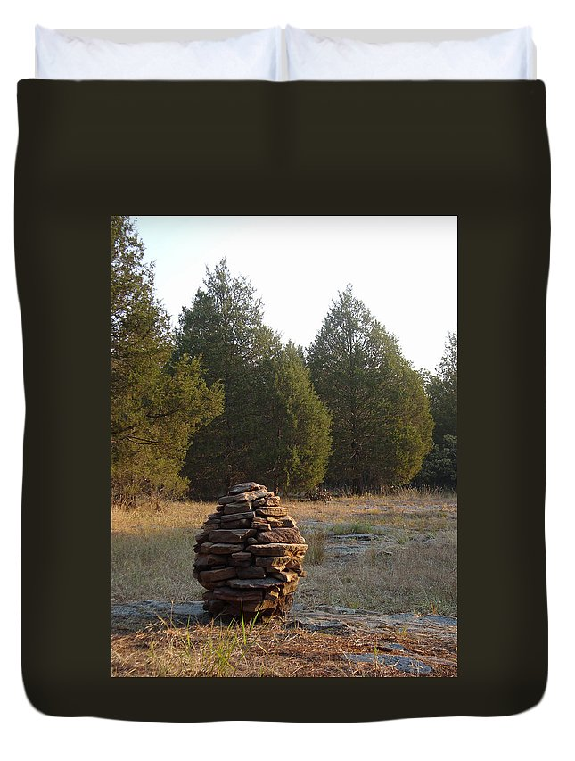 Stone Duvet Cover featuring the photograph Sandstone Cairn Nature Art Sculpture by Adam Long