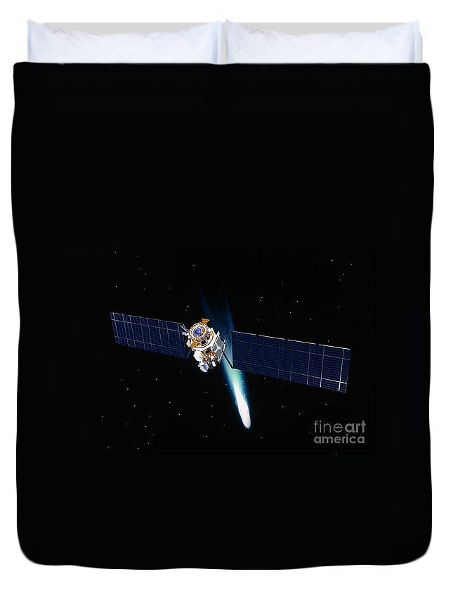 Color Image Duvet Cover featuring the photograph Satellite In Outer Space by Stocktrek Images