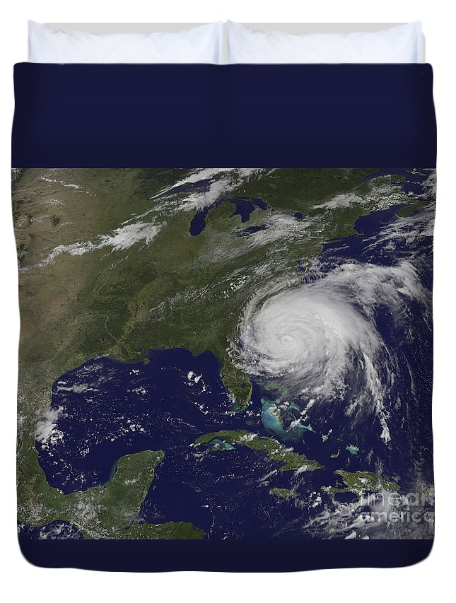 East Coast Duvet Cover featuring the photograph Satellite View Of Hurricane Irene by Stocktrek Images