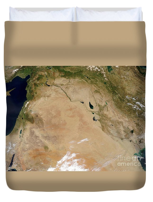 Color Image Duvet Cover featuring the photograph Satellite View Of The Middle East by Stocktrek Images