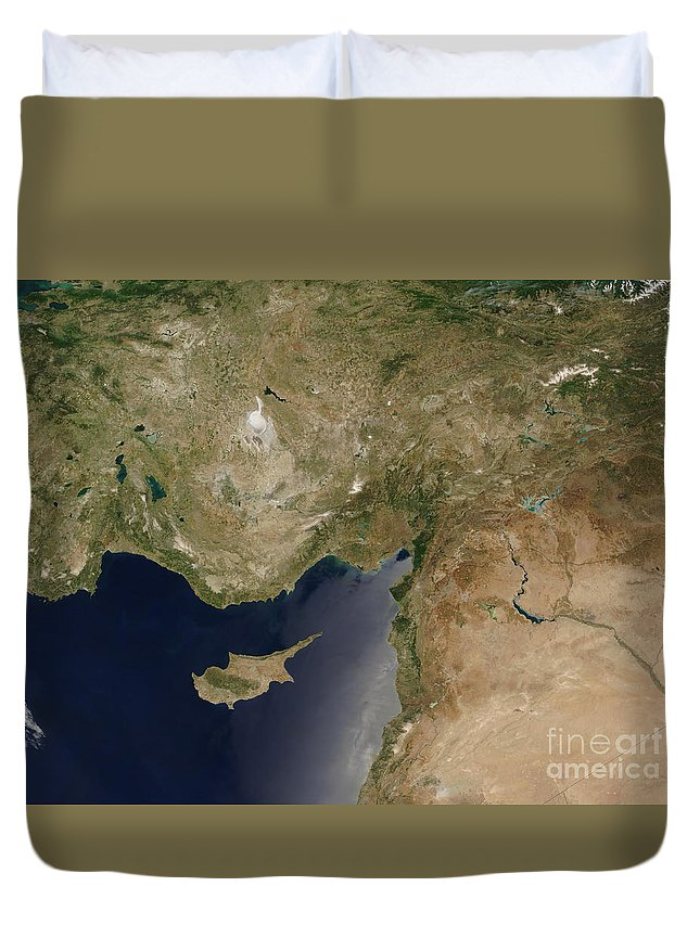 Asia Minor Duvet Cover featuring the photograph Satellite View Of Turkey And The Island by Stocktrek Images
