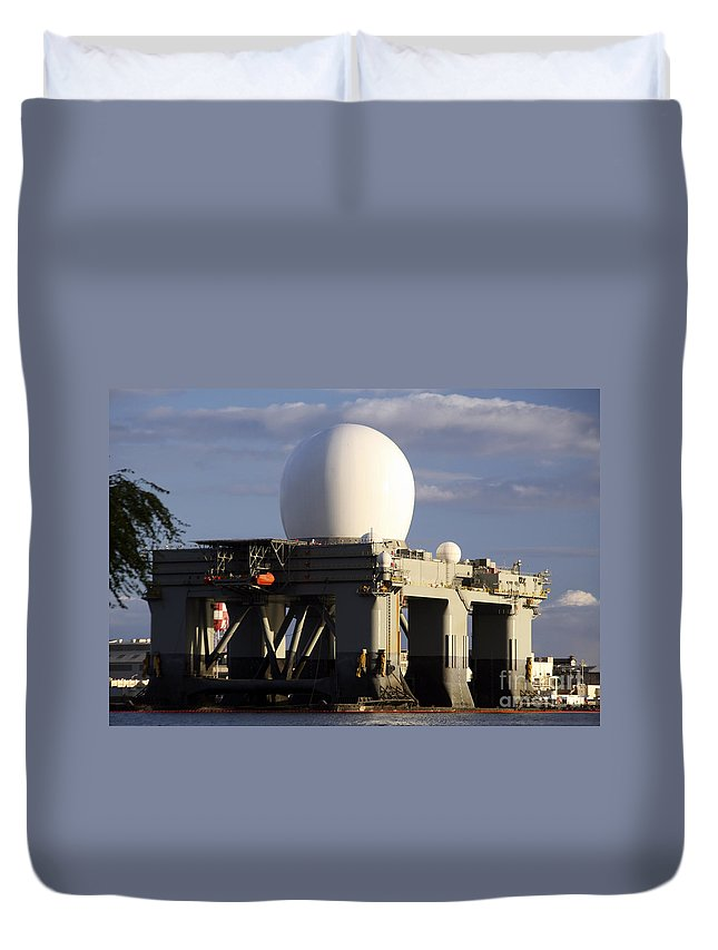 Color Image Duvet Cover featuring the photograph Sea Based X-band Radar Dome Modeled by Michael Wood