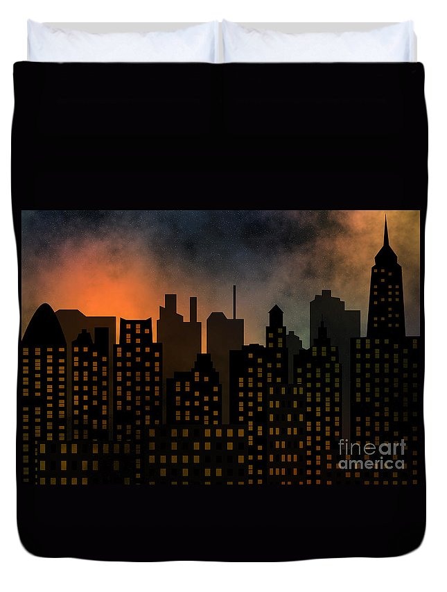 Modern Duvet Cover featuring the digital art Skyscrapers by Michal Boubin