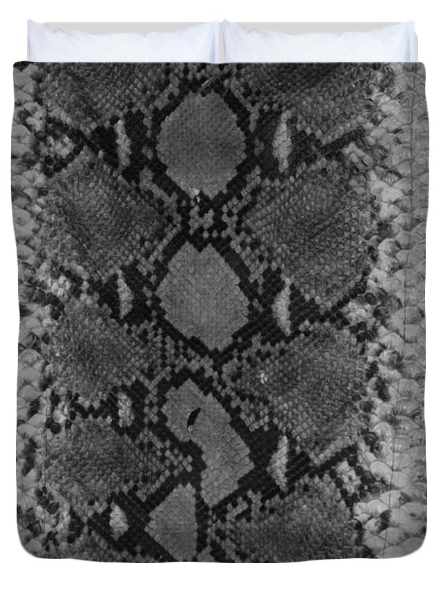 Animal Duvet Cover featuring the photograph Snake Skin In Black And White by Rob Hans