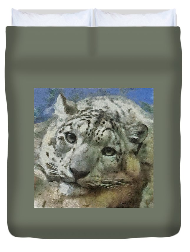 Animals Duvet Cover featuring the digital art Snow Leopard Painterly by Ernie Echols