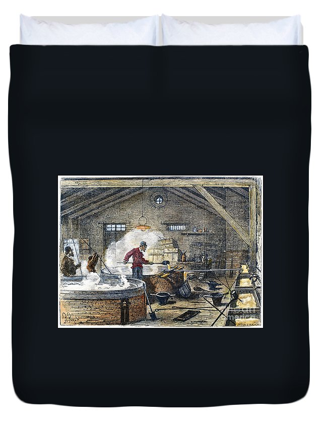 1870 Duvet Cover featuring the photograph Soap Manufacture, C1870 by Granger