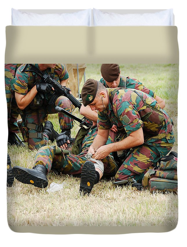 Applying Duvet Cover featuring the photograph Soldiers Of A Belgian Infantry Unit by Luc De Jaeger