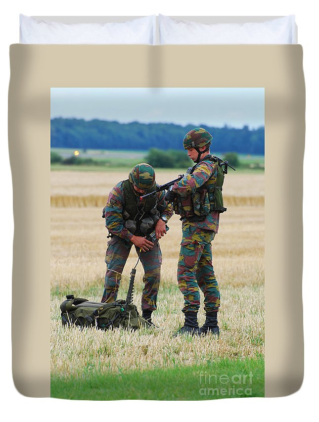 Armed Forces Duvet Cover featuring the photograph Soldiers Of The Belgian Army by Luc De Jaeger
