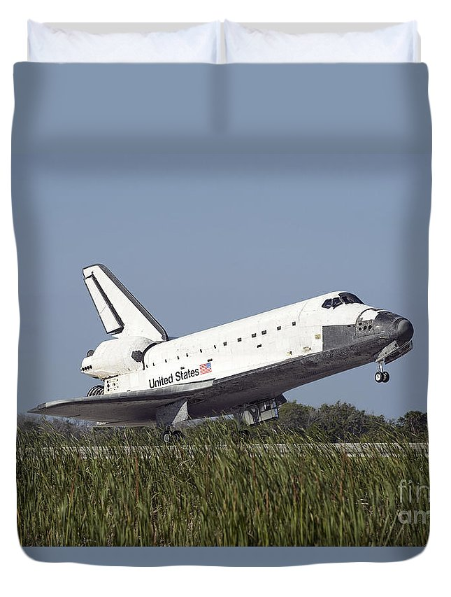 Florida Duvet Cover featuring the photograph Space Shuttle Atlantis Touches by Stocktrek Images
