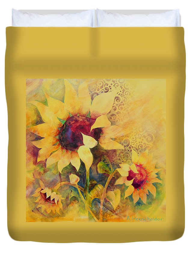 Sunflower Duvet Cover featuring the painting Sunflowers by Amy Householder
