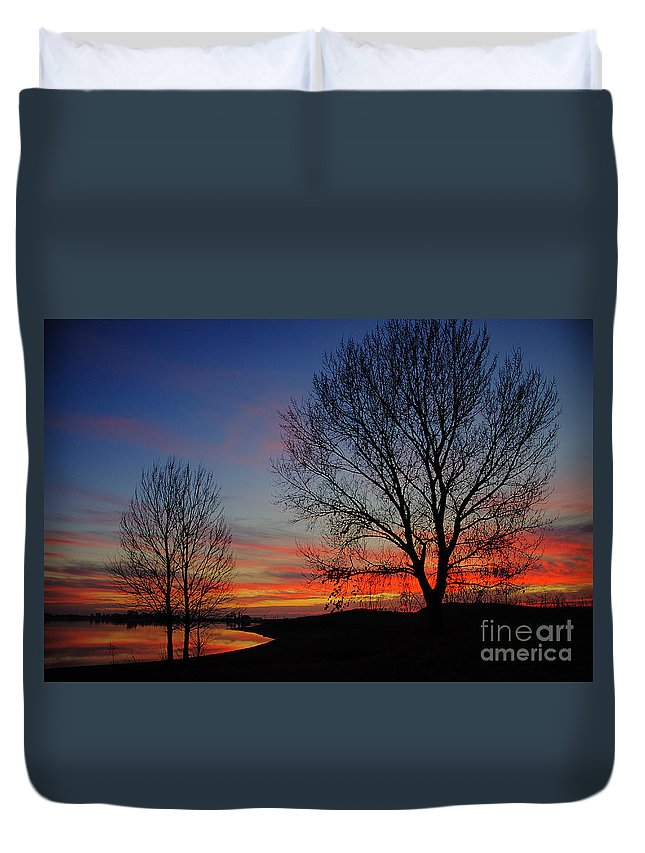 Sunset Duvet Cover featuring the photograph Sunset At The Lake by Jim And Emily Bush