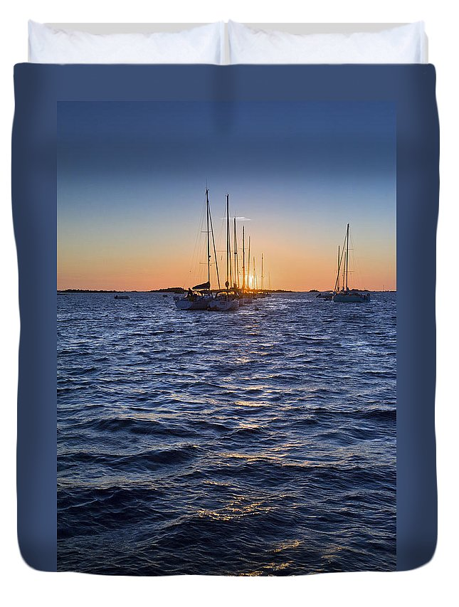Chausey Sound Duvet Cover featuring the photograph Sunset Moorings Chausey by Gary Eason