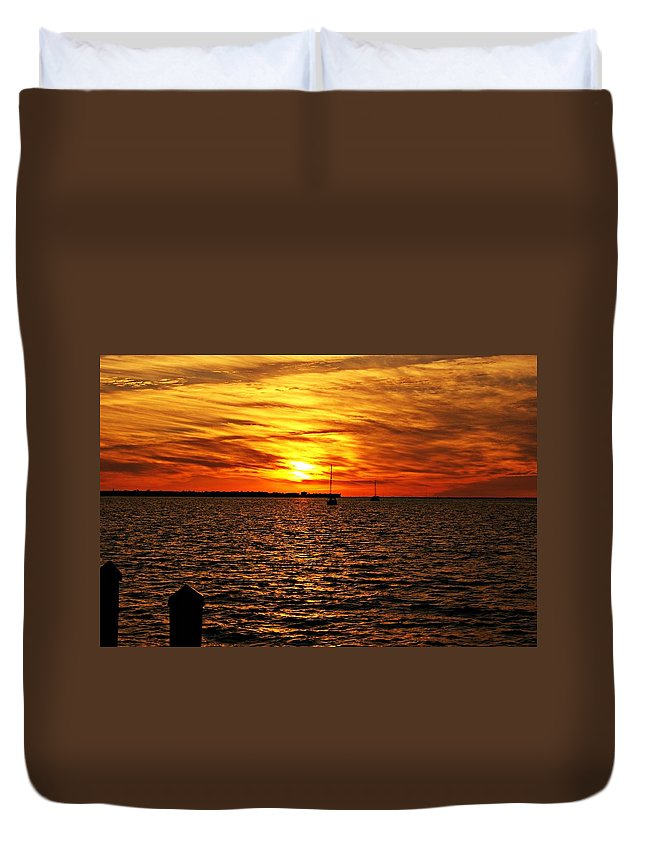 Sunset Duvet Cover featuring the photograph Sunset Xxxii by Joe Faherty
