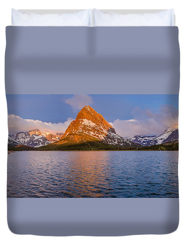 Glacier National Park Duvet Cover featuring the photograph Swiftcurrent Lake Panorama by Greg Nyquist