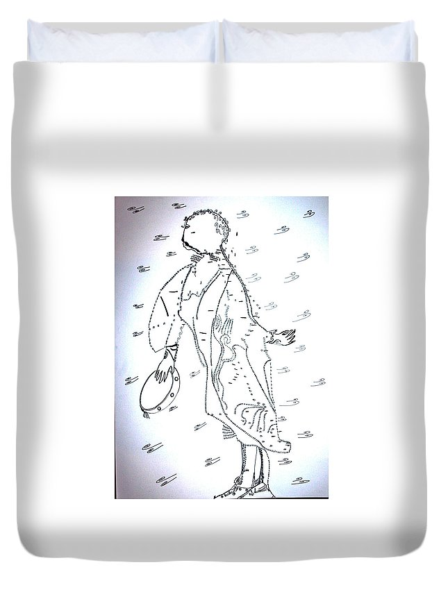 Jesus Duvet Cover featuring the drawing Tarantella Dance - Italy by Gloria Ssali