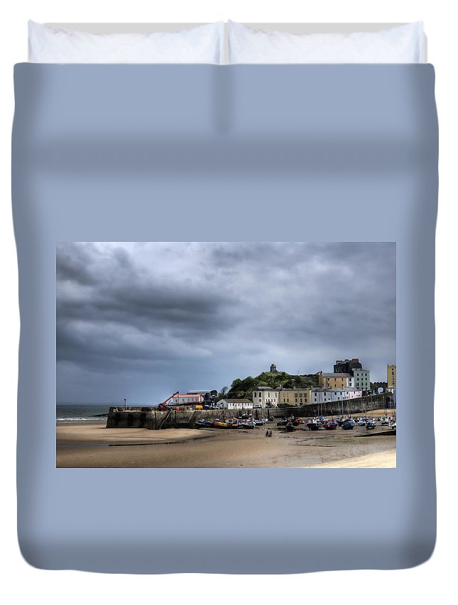 Tenby Pembrokeshire Duvet Cover featuring the photograph Tenby Harbour From North Beach 2 by Steve Purnell