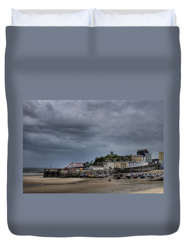 Tenby Pembrokeshire Duvet Cover featuring the photograph Tenby Harbour From North Beach 3 by Steve Purnell
