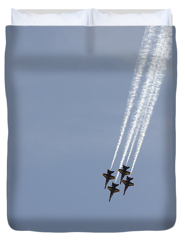 Aerial Duvet Cover featuring the photograph The Blue Angels Perform Aerial by Stocktrek Images
