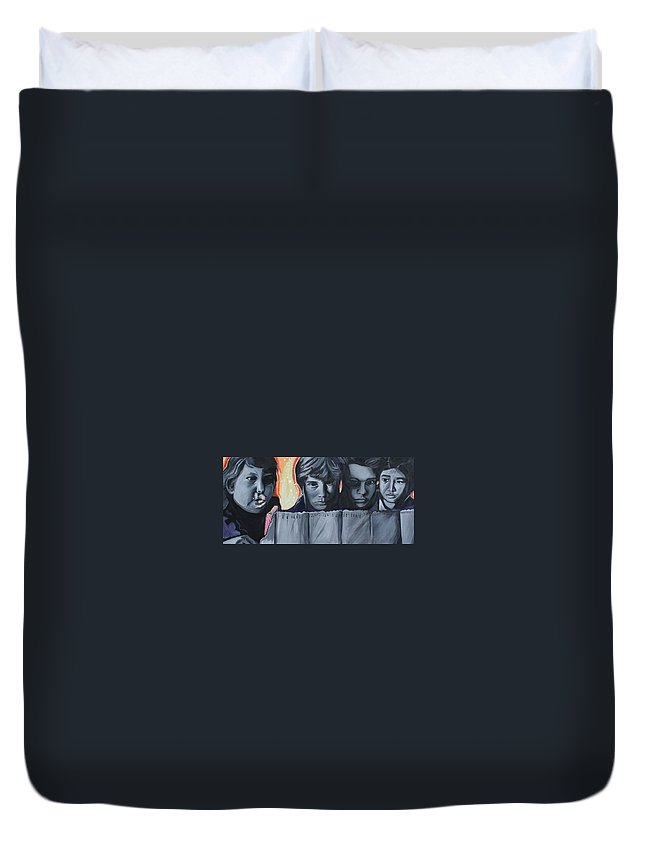 Duvet Cover featuring the painting The Goonies by Kate Fortin