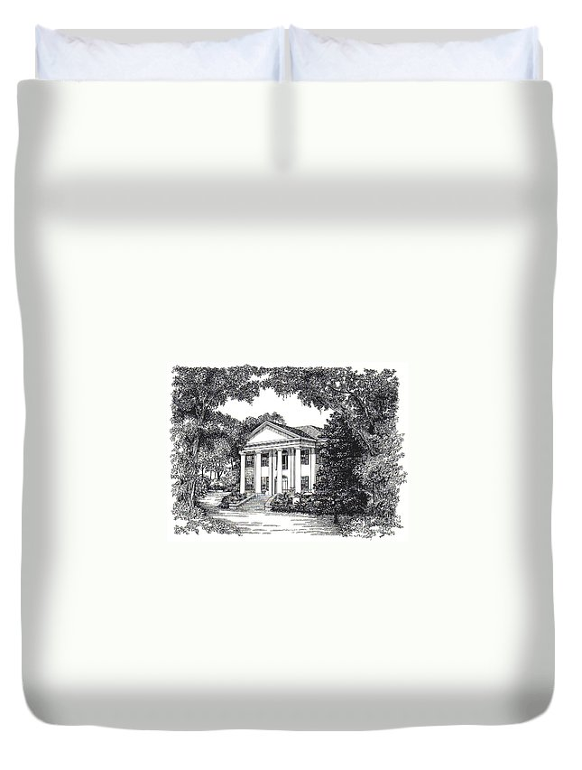 Grove Duvet Cover featuring the painting The Grove Tallahassee Florida by Audrey Peaty