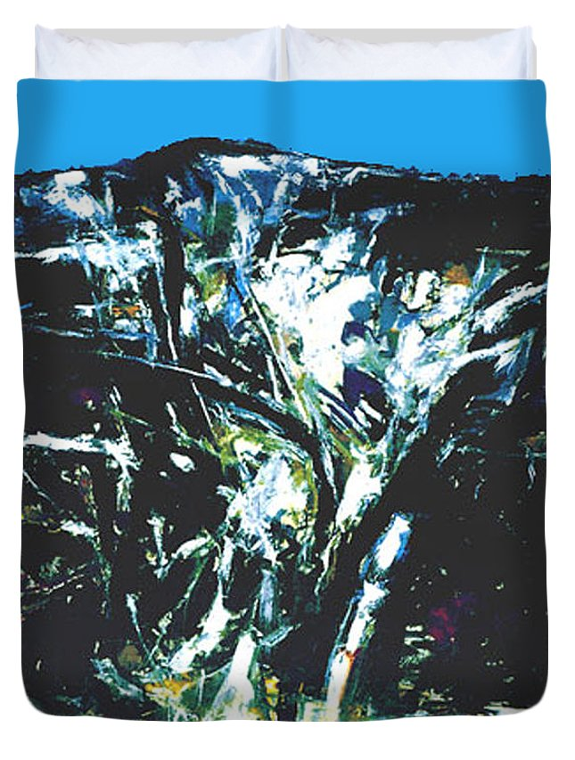 Landscape Duvet Cover featuring the painting The Mount Sinjajevina by Vladimir Vlahovic