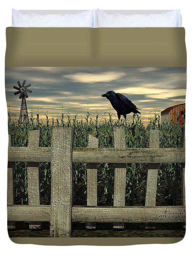 Raven Duvet Cover featuring the digital art The Raven by Michael Stowers