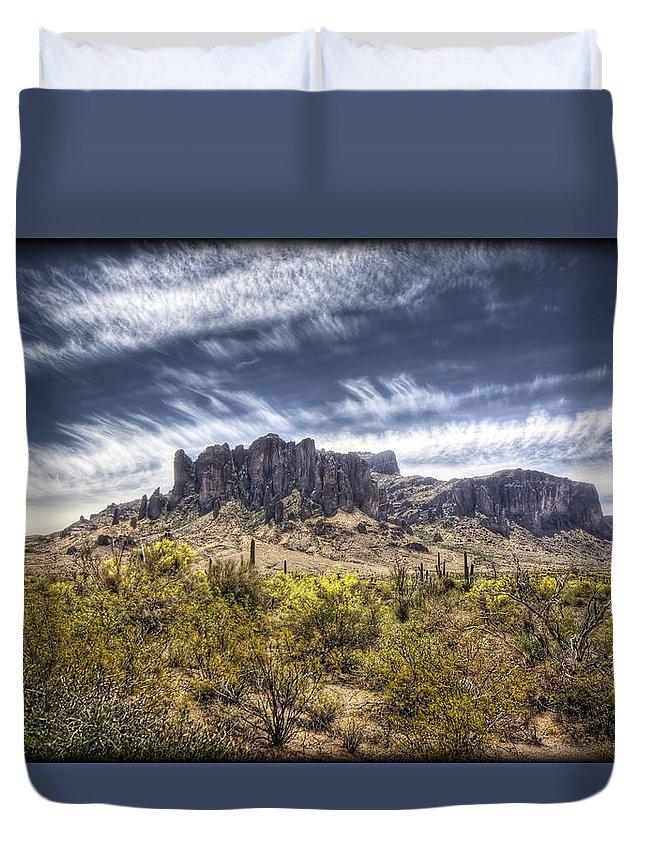 Arizona Duvet Cover featuring the photograph The Superstitions by Saija Lehtonen