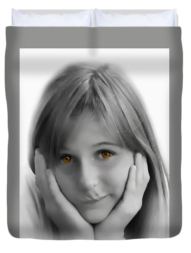 Children Duvet Cover featuring the photograph This Is My Thinking Face by Debbie Portwood