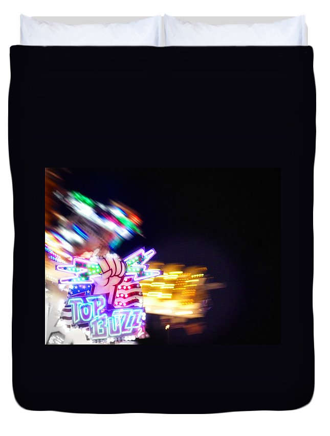 Neon Duvet Cover featuring the photograph Top Buzz by Charles Stuart