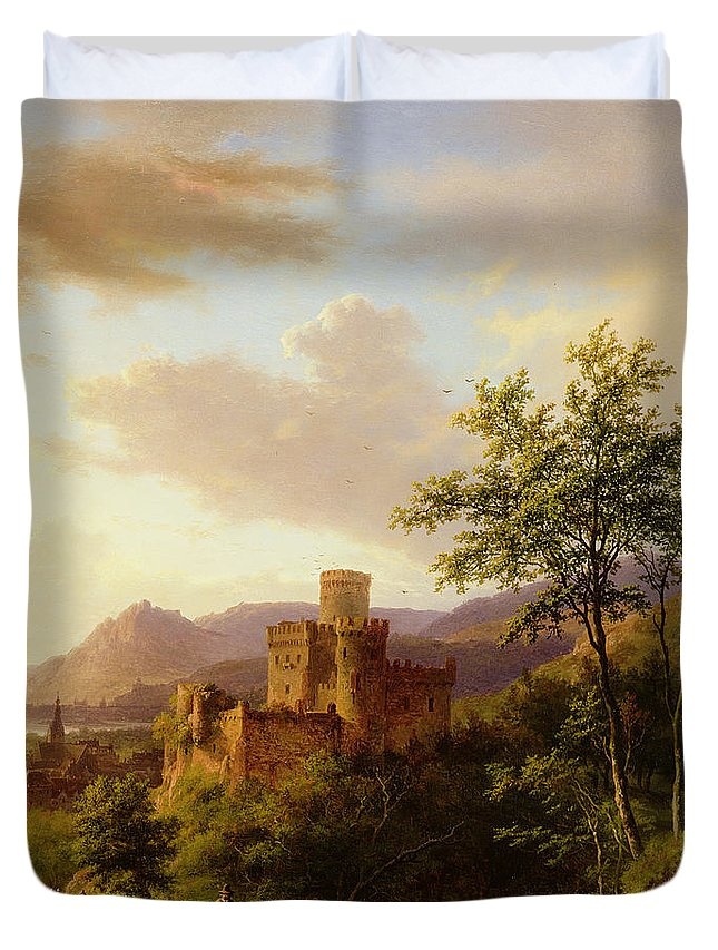 Castle; Towers; Estuary; River; Town; Boats; Crags; Oxen; Traveller; Rhine; Ruins; Romantic; Sailing Vessels; Tower Duvet Cover featuring the painting Travellers On A Path In An Extensive Rhineland Landscape by Barend Cornelis Koekkoek