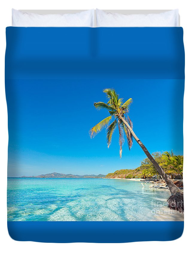 Sea Duvet Cover featuring the photograph Tropical Beach Malcapuya by MotHaiBaPhoto Prints