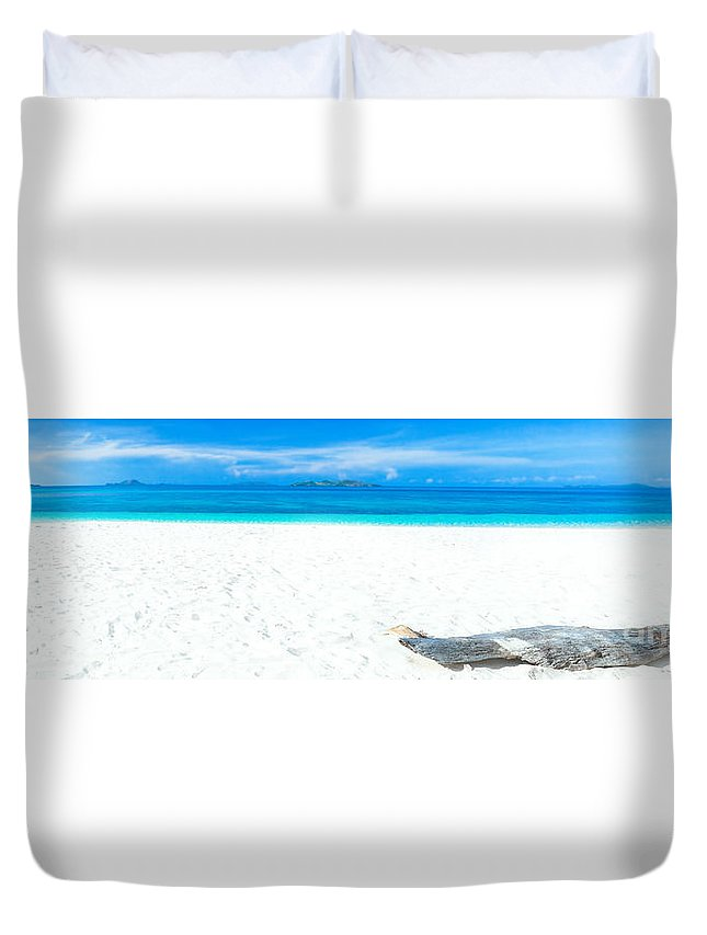 Sea Duvet Cover featuring the photograph Tropical Beach Panorama by MotHaiBaPhoto Prints
