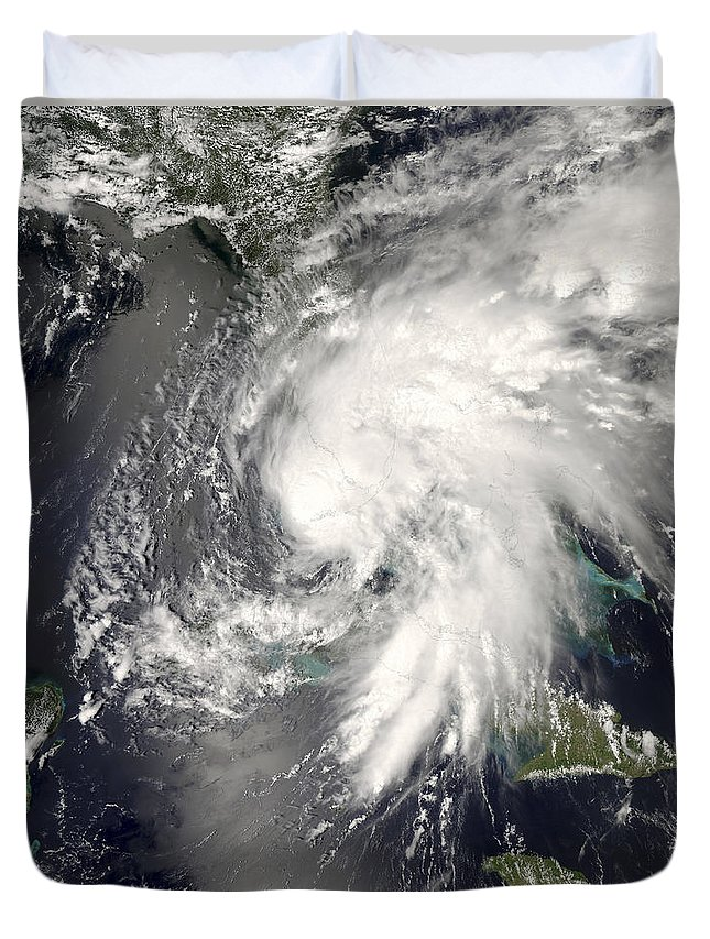 Circulating Duvet Cover featuring the photograph Tropical Storm Fay by Stocktrek Images