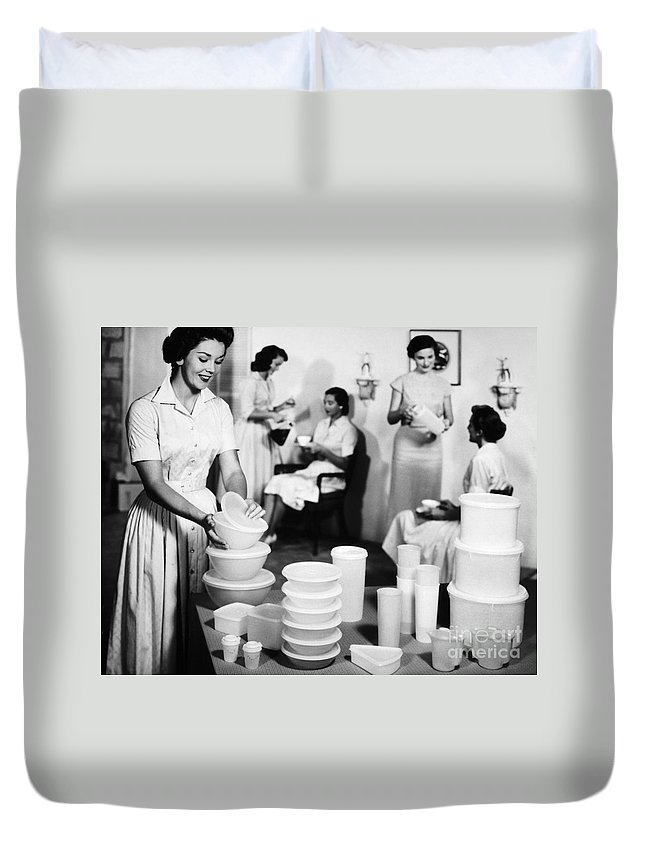1950s Duvet Cover featuring the photograph TUPPERWARE PARTY, 1950s by Granger