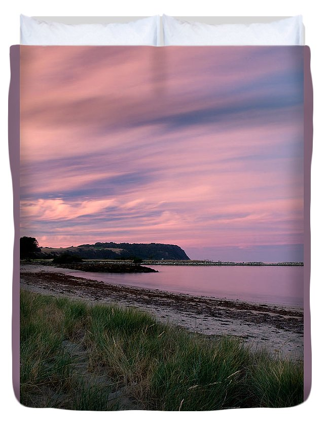 Red Duvet Cover featuring the photograph Twilight After A Sunset At A Beach by U Schade