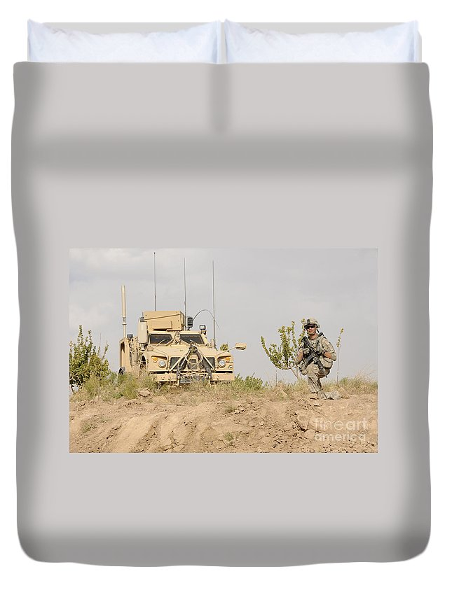 Afghanistan Duvet Cover featuring the photograph U.s. Army Sergeant Provides Security by Stocktrek Images
