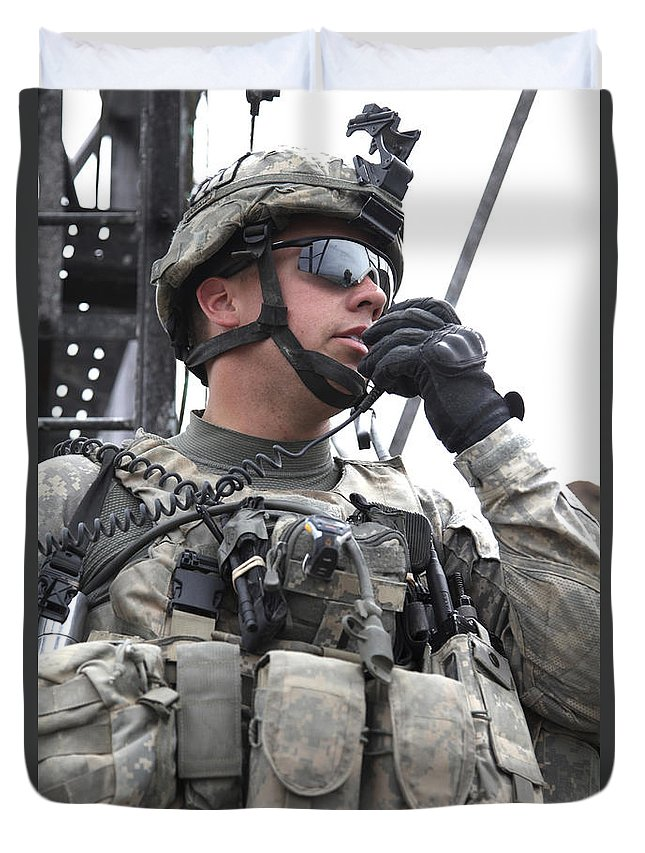 Afghanistan Duvet Cover featuring the photograph U.s. Army Soldier Communicates by Stocktrek Images